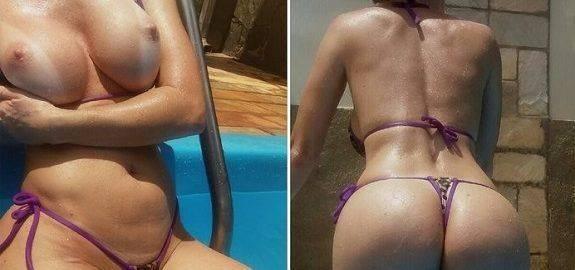 Esposa magrinha pelada na piscina