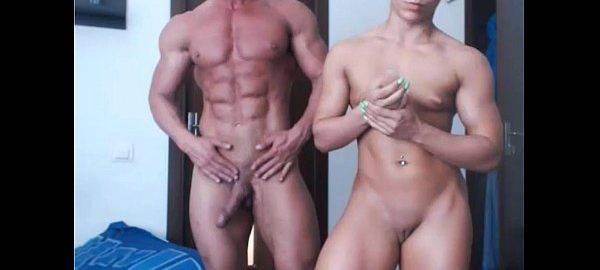 Casal de sarados pelados na webcam